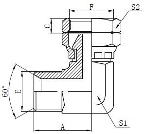 Darlun BSP Elbow Connector